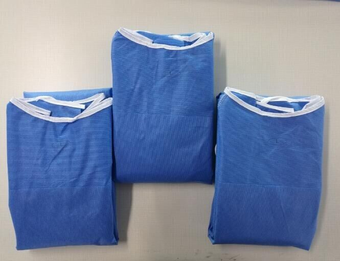 Fluid Resistance Comfortable Blue Surgical Gowns Long Sleeve