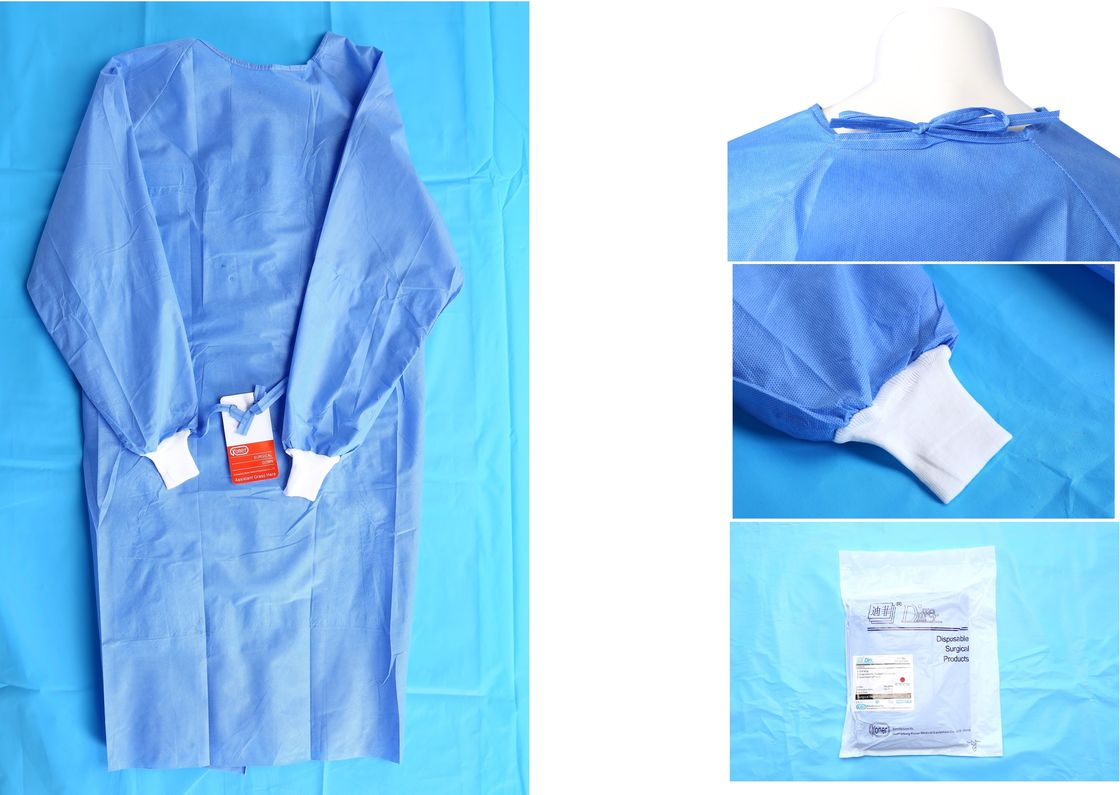 Waterproof Blue Medical Disposable Isolation Gown Breathable 48gsm