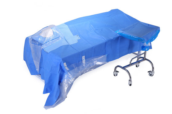 "China Brain Surgery Blue SMMS Disposable Surgical Drapes 60""  X 90"" factory"